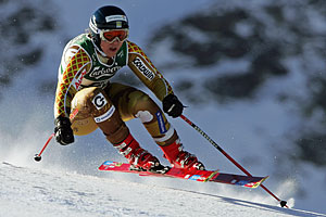 Swedish Anja Paerson on her way to win the women's Super-G race at the Alpine Skiing World Championships in Santa Caterina, Sunday 30 January 2005. EPA/MIRKO GUARRIELLO